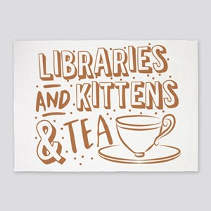 Libraries and kittens and TEA 5'x7'Area Rug